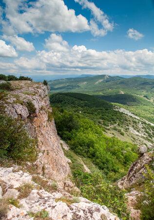 tableland: View from mountain tableland. Mangup Kale, Crimea, Ukraine Stock Photo