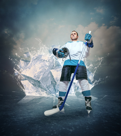 sportsmanship: Hockey player portrait on abstract ice background