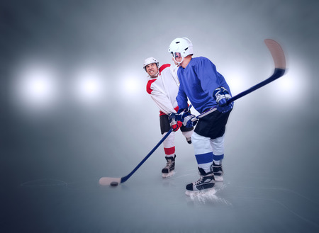 Two ice hockey players during match photo