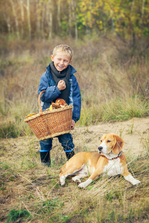 Boy with full basket of mashrooms on the forest glade photo