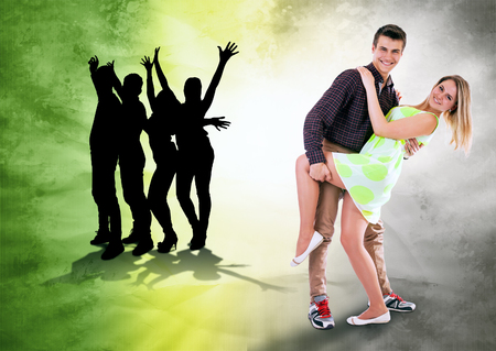 people dancing: We love to dance all time  Dancing teen couple on bright grunge background Stock Photo