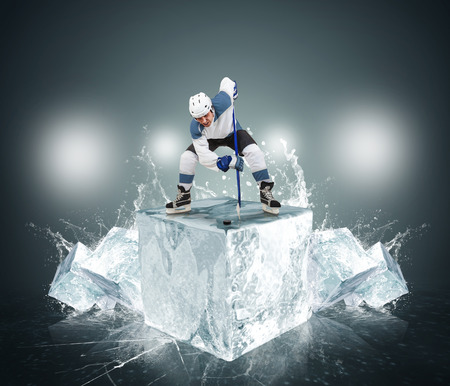 ice hockey: Hockey player with ice cubes
