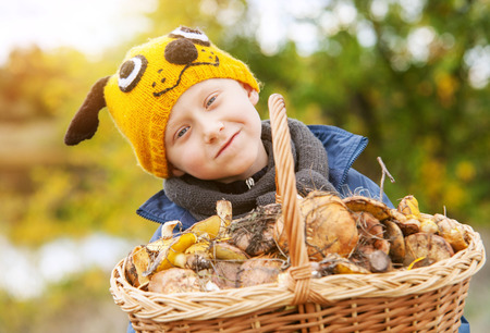 Little pretty boy in funny hat with big basket of mushrooms photo