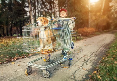 niños caminando: Boy caminar con el perro en pista de las compras