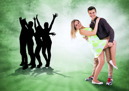 dance time: We love to dance all time. Dancing teen couple on bright grunge background