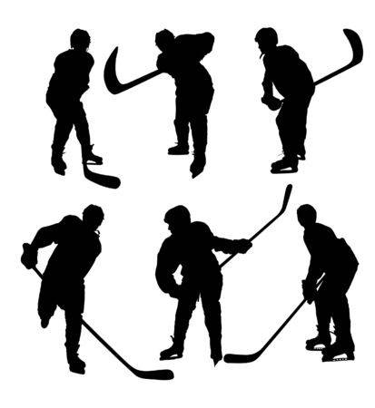 Silhouettes hockey players on white photo