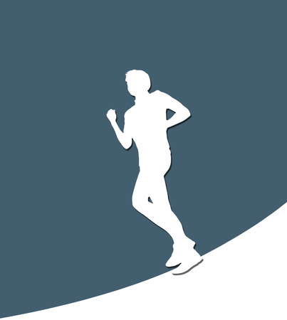 starting line: Running Male white paper silhouette Stock Photo