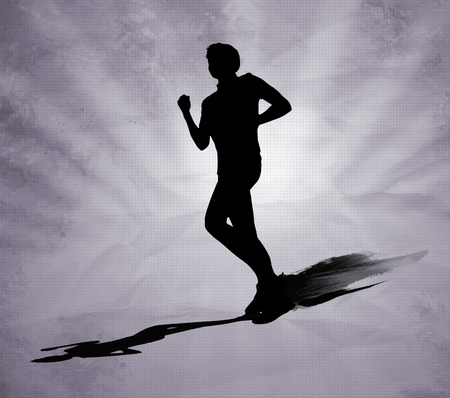 starting line: Running man black silhouette on grey background