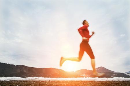 man outdoors: Winter speed runner