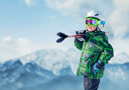 Young skier in mountain