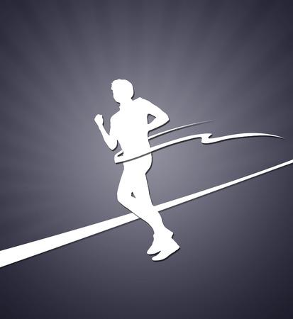 run off: Finishing runner white silhouette on the grey