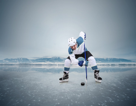 rink: Face-off ice hockey moment on the frozen lake