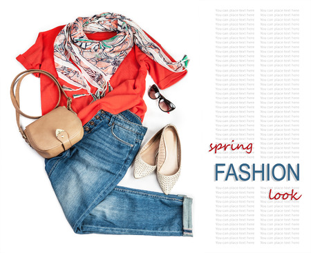 casual fashion: Casual fashion look for spring with jeans and bright pullover Stock Photo