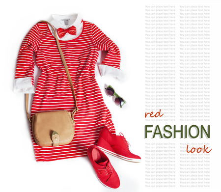 rad: Fashion look with rad dress and sneakers Stock Photo