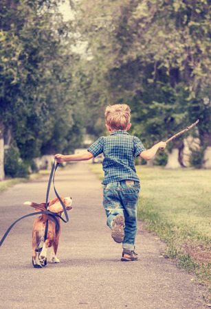 Little boy playing with his beagle puppy
