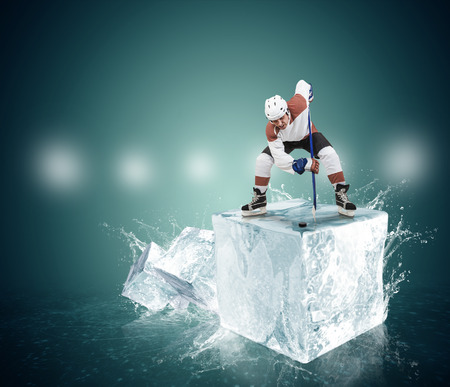 sportsmanship: Face-off moment on the ice cube concept image