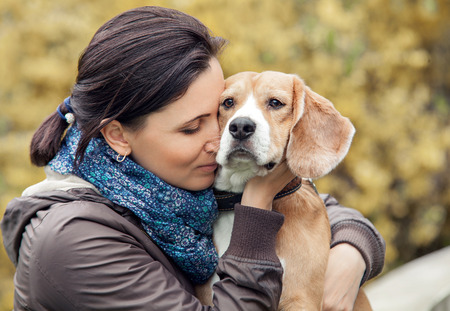 wild animals: Woman and her favorite dog portrait Stock Photo