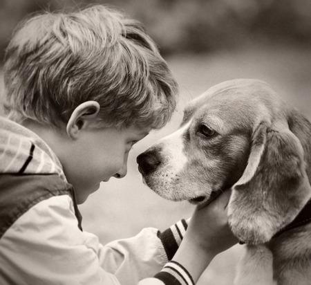 Boy and dog portrait vintage film shoot photo