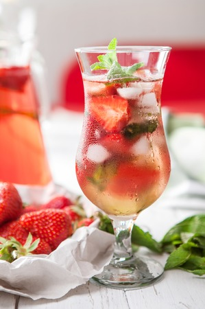 misted: Misted glass with strawberry refresh cocktail