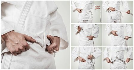 karateka: Karateka belt tying step by step pictures Stock Photo