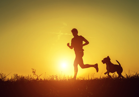 Silhouette of runner with dog in sunset rise