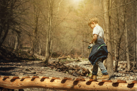 Boy goes on the mountain river bridge in spring forest Standard-Bild