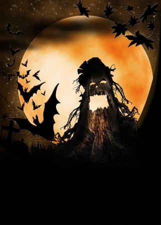 terribly: Halloween illustration with terrible pumpkin, moon and bats