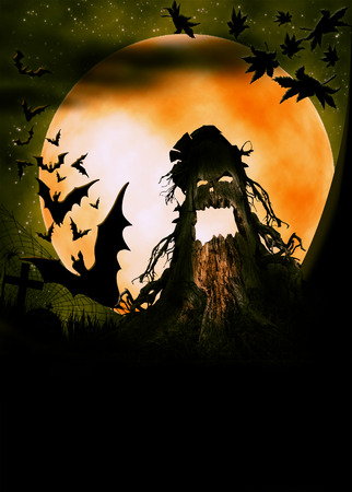 terrible: Halloween illustration with terrible pumpkin, moon and bats