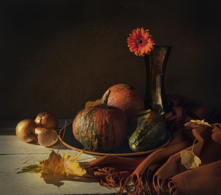 background food: Still life with pumpkins and flower