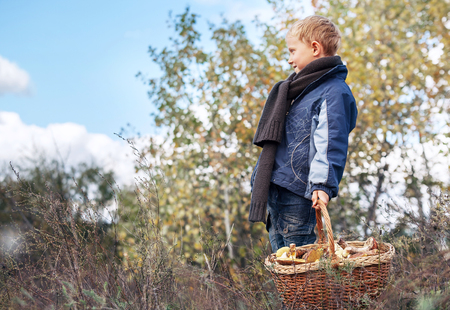 ful: Boy in autumn forest with ful basket of mushrooms