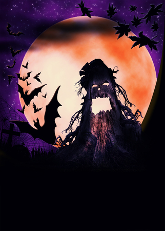 fairytale background: Halloween illustration with terrible pumpkin, moon and bats