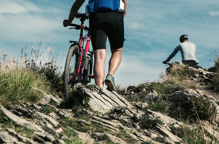 bicyclists: Bicyclist travelers in mountain Stock Photo