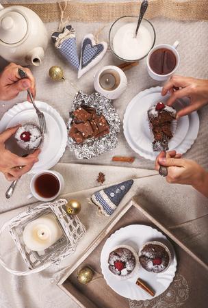 cioccolato natale: Tea party con le focaccine Archivio Fotografico