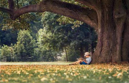 Niño leyendo un libro bajo el árbol grande de tilo Foto de archivo - 49039758