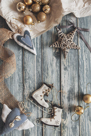blue ball: Christmas decoration on grunge wooden background Stock Photo