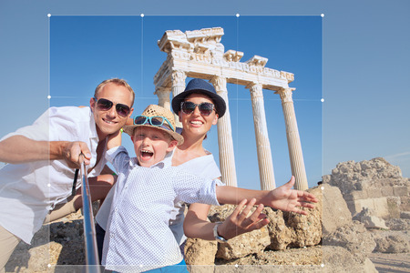 cropping: Cropping picture of positive young family for share in social network Temple of Apollo,Side,Turkey