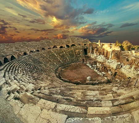civilizations: Side antique amphitheatre fish eye top view