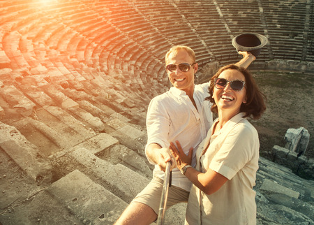take a history: Happy young couple take self photo in their vacation Stock Photo
