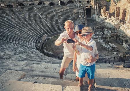 take a history: Family take  vacation selfie photo