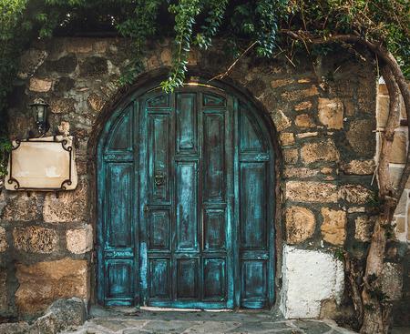 mago: grunge puerta de madera azul en la pared de ladrillo Foto de archivo