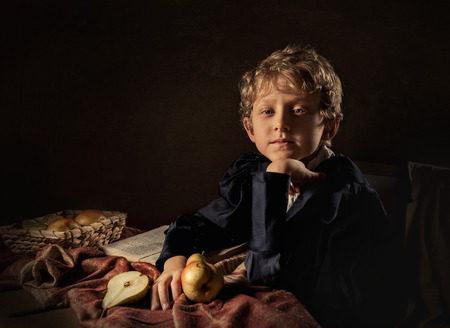 young boys: Boy with pears fine art imitation Stock Photo