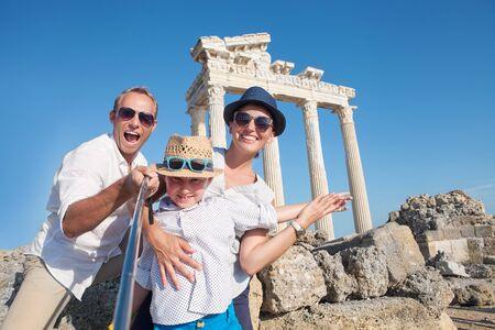 Happy family selfie photo on summer vacation Stock Photo
