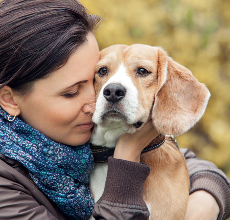 beagle puppy: Woman and her favorite dog portrait Stock Photo