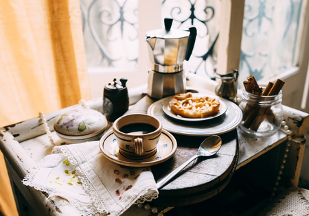 old windows: Vintage style morning coffee with biscuits Stock Photo