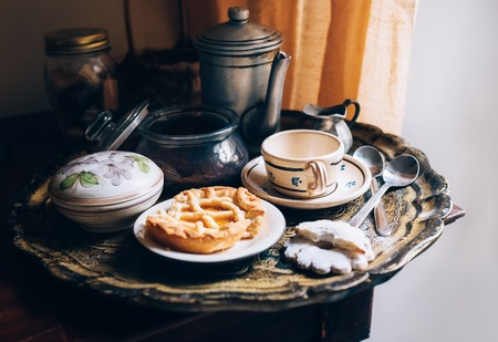 vintage kitchen: Morning coffee with vintage kitchen props and homemade cookies