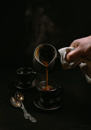 Turkish coffee pouring moment