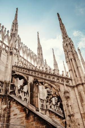 gothic architecture: Milan Cathedral roof gallery. Flamboyant style of late Gothic architecture Stock Photo