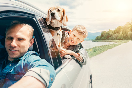 Father with son and dog look from the car window Stockfoto