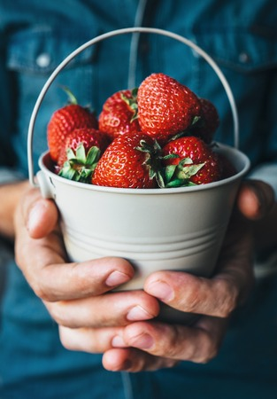 odorous: Man hands with miniature bucket with strawberry