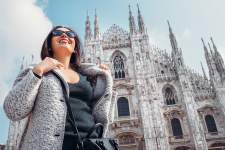 milánó: Smiling woman portrait near the Milan Cathedral Stock fotó